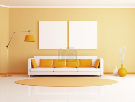 Photo for Orange and white minimalist living room - rendering - Royalty Free Image
