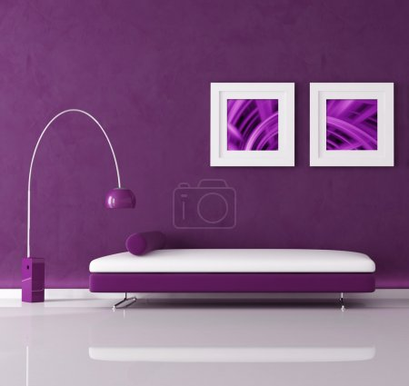 Purple minimal interior with velvet sofa and lamp,...