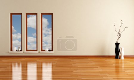 Photo for Empty minimalist room with three wooden windows - rendering - Royalty Free Image