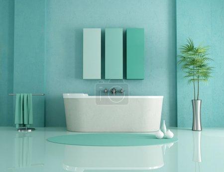 Photo pour Baignoire en grès dans une salle de bain moderne verte - rendu - image libre de droit