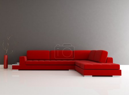 Photo for Red velvet sofa in a minimalist lounge - rendering - Royalty Free Image