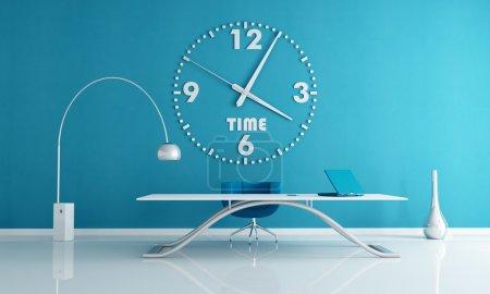 Photo pour Espace de bureau bleu avec grand mur horloge rendu - image libre de droit