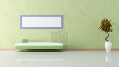 Photo for Green livin room with sofa and empty blue frame - Royalty Free Image