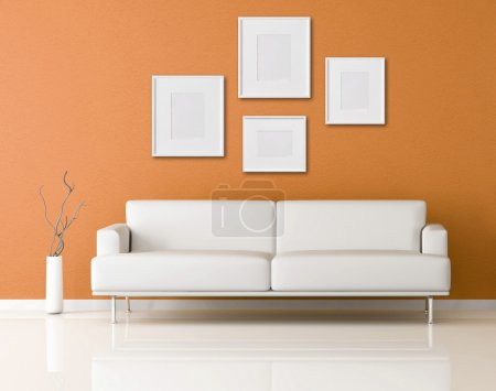 Photo for Orange modern interior with empty frame-rendering - Royalty Free Image