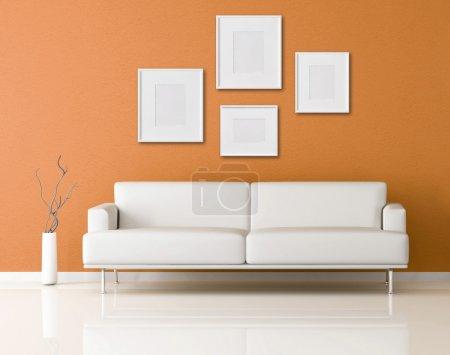 Foto de Naranja interior moderno con marco vacío-representación - Imagen libre de derechos