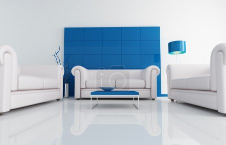 Photo pour Dtail d'intérieur bleu aminimal avec trois canapés classiques - image libre de droit