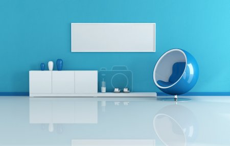 Photo pour Bleu moderne salon avec toile blanche - image libre de droit
