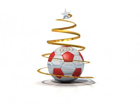 Soccer christmas tree isolated