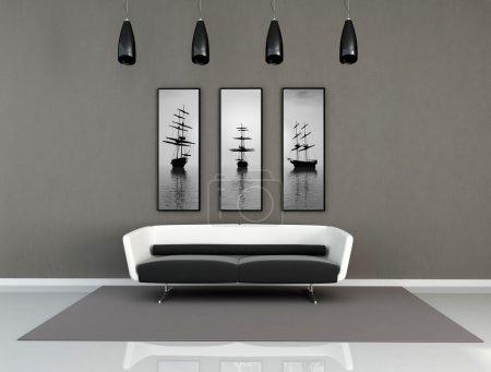 Photo pour Minime salon noir et blanc - illustrations numériques, l'art photos sur le mur sont de ma composition de rendu - image libre de droit