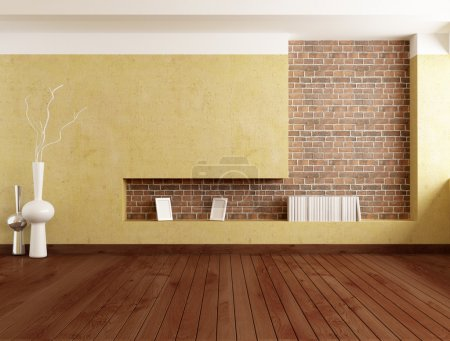 Photo for Empty minimalist room with plaster wall and brick niche - rendering - Royalty Free Image