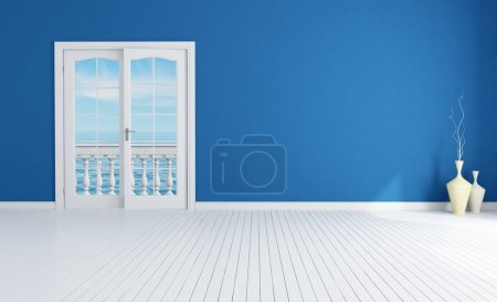 Blue empty room with closed windows with white pla...