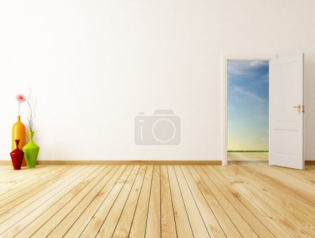 Photo for Empty home entrance with oper door -rendering-the image on background is a my rendering composition - Royalty Free Image