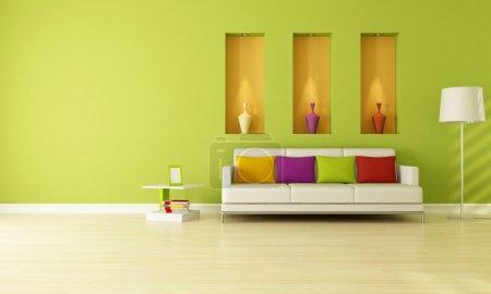 Foto de Verde minimalista living comedor con tres nicho - representación - Imagen libre de derechos