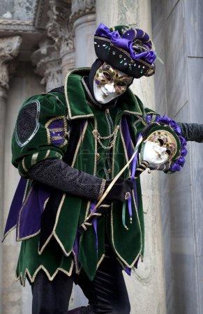 Man in joker costume at Venice Carnival 2011
