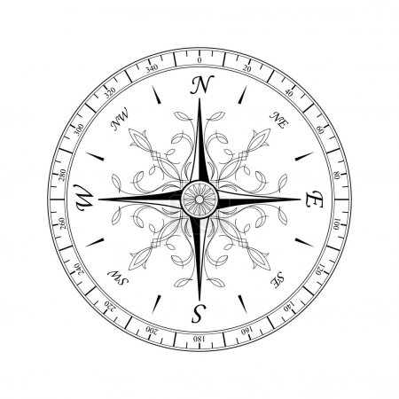 Illustration for Vintage compass for design isolated on white - Royalty Free Image
