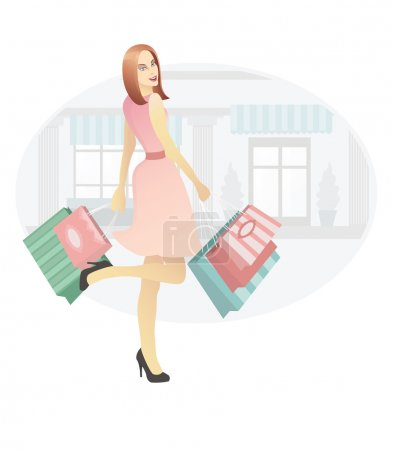 Illustration for Beautiful female holding shopping bags. - Royalty Free Image