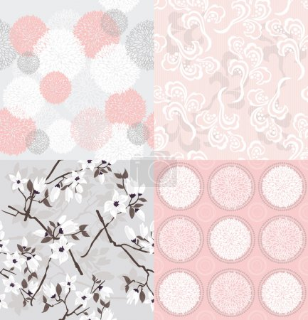 Set of seamless floral patterns....