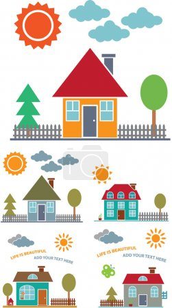 Illustration for 4 family cute houses, vector - Royalty Free Image