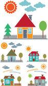 4 family cute houses vector