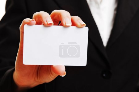 Woman hand with empty business card