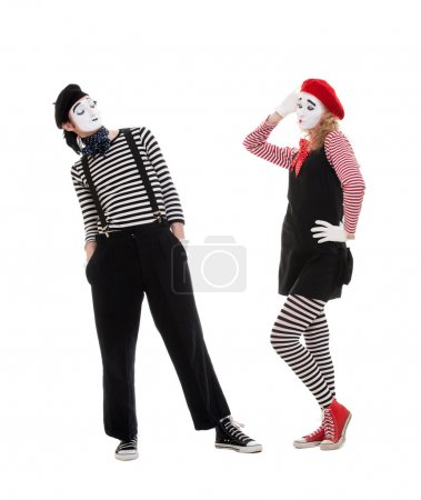 Playful couple of mimes