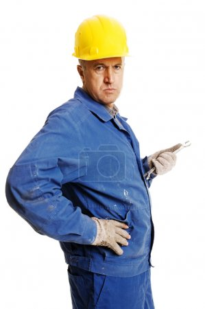 Handsome worker with screw key