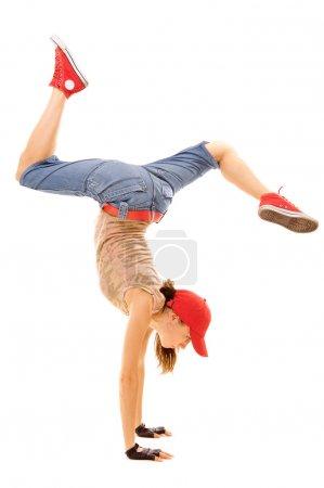 Breakdancer head over heels