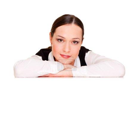 Woman leaning on copyspace