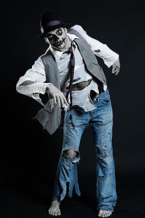 Spooky man in rags from nightmare...