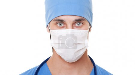 Photo for Portrait of doctor in mask and blue uniform. isolated on white background - Royalty Free Image