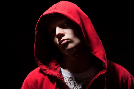 Cool b-boy in red jacket