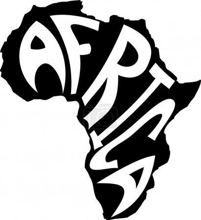 Illustration pour Le mot Afrique dessiné dans une silhouette du continent . - image libre de droit