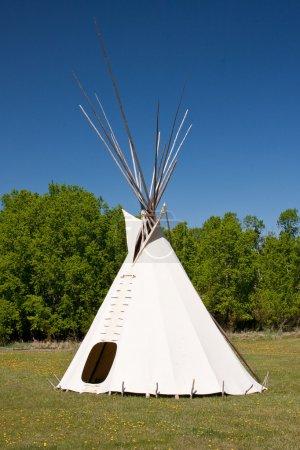 Photo pour Un petit groupe de tipis dans un pré, entouré par la forêt. tipis étaient logement traditionnel des Amérindiens dans les grandes plaines et les autres États de l'ouest - image libre de droit