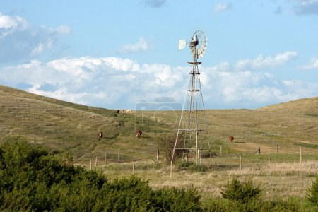 Windmill on Hills of the Praires