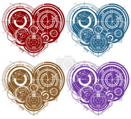 Art illustration of hearts with many mechanisms...