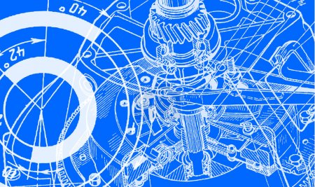 Illustration for Technical drawing or blueprint on blue background - Royalty Free Image
