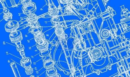 Illustration pour Dessin technique ou plan sur fond bleu - image libre de droit