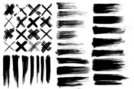 Illustration for Set of different vector brushes and cross marks isolated on white background - Royalty Free Image