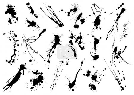 grunge black ink blots
