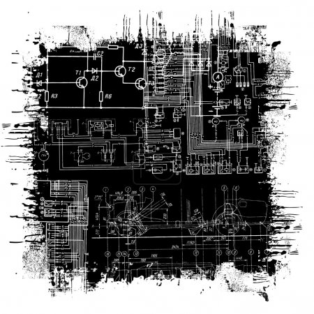 Illustration for Abstract technical drawing in grunge black square - Royalty Free Image
