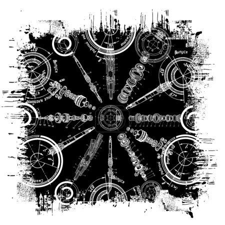 Illustration pour Grunge vectoriel artistique noir et blanc - image libre de droit