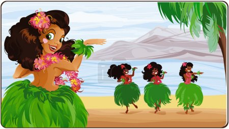 Illustration for Vector card with hula-dancers - Royalty Free Image