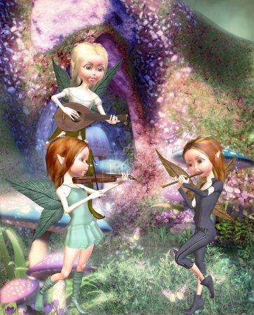 Photo pour 3 elfes, faire de la musique - image libre de droit