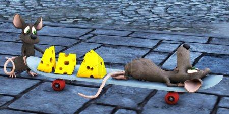 Mice on skateboard