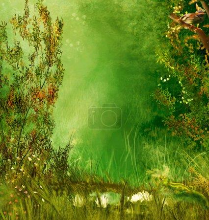 Photo pour Fond fantaisie avec les oiseaux, les arbres, les papillons - image libre de droit