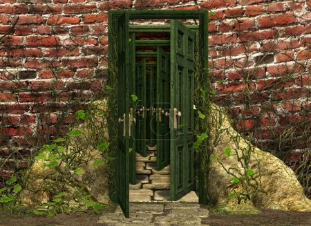 Photo for Illustration of endless doors - Royalty Free Image