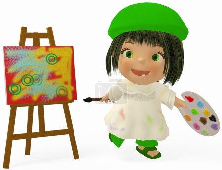 Foto de Chica de dibujos animados que es la pintura sobre lienzo. - Imagen libre de derechos