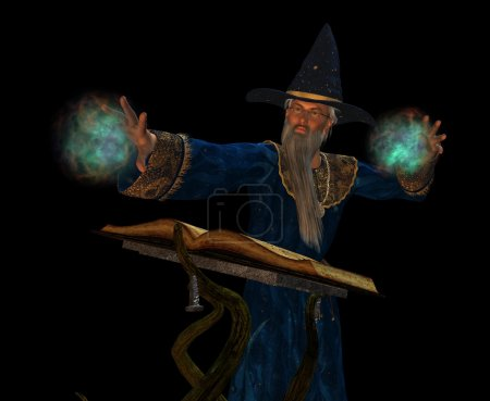 Old wizard casting a spell