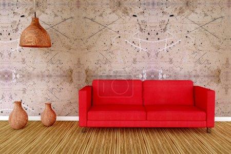 Photo pour Salon avec canapé et vase en bois - image libre de droit