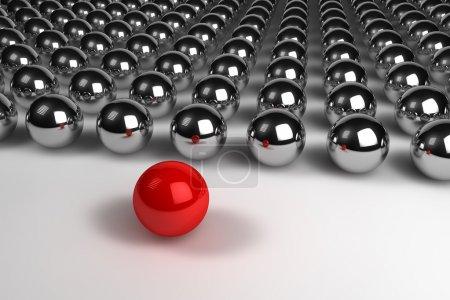 Photo pour Illustration en 3D du concept de leadership des sphères - image libre de droit